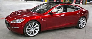 Tesla Model S (300 miles per charge; pre-production prototype shown in picture) image courtesy of Steve Jurvetson, derivative work Mario R. Duran Ortiz / CC-BY-2.0